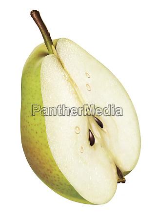 fresh green pear half on white