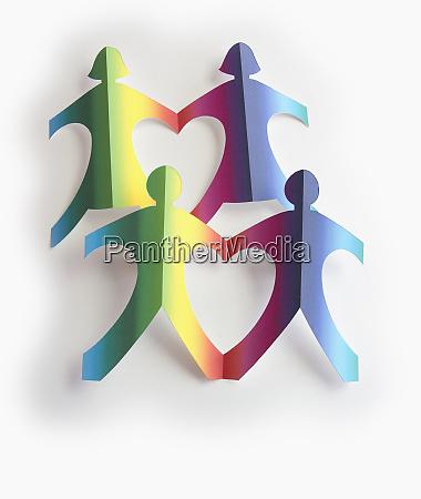 heart shapes between paper chain men