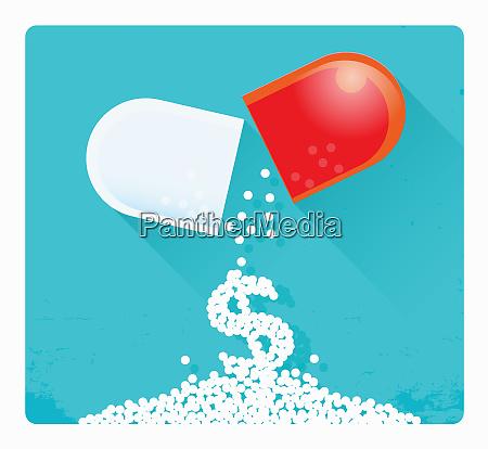 dollar sign falling from broken pill