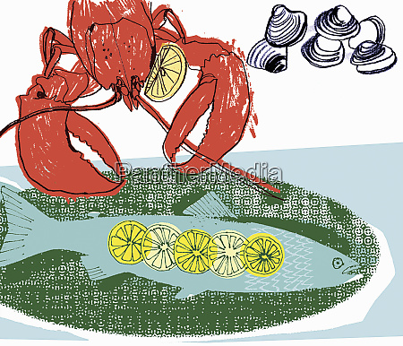 lobster fish and shellfish with slices
