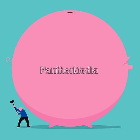 man, destroying, huge, piggy, bank - 26028088