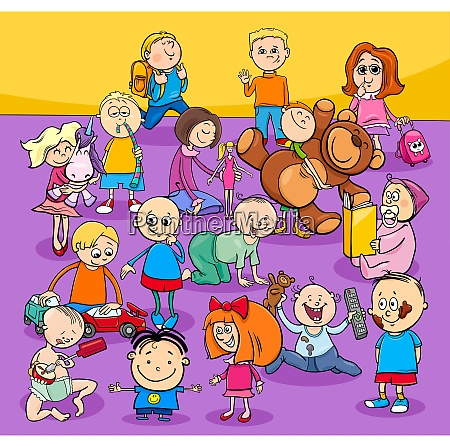 toddlers and kids cartoon characters group