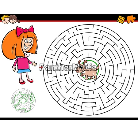 cartoon maze game with girl and