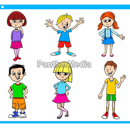 cartoon teens and children characters set