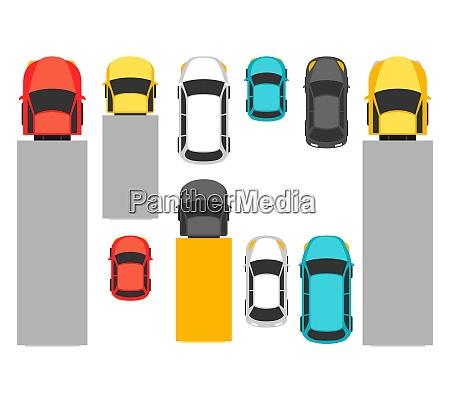 set of top view various cars