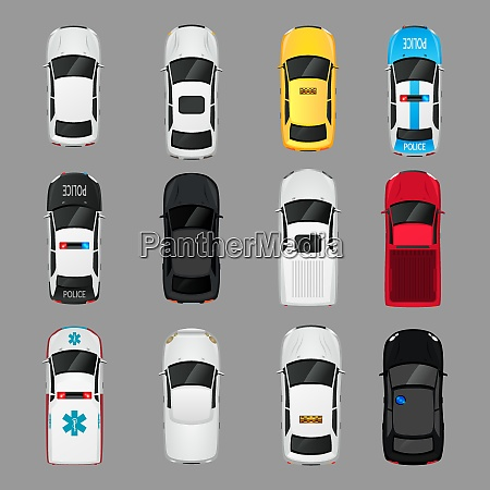 cars transport top view icons set
