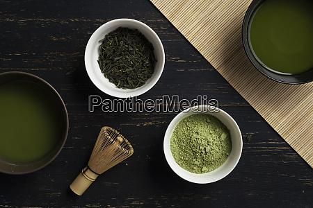 still life of matcha tea preparation