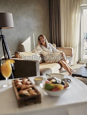fresh breakfast on table against senior